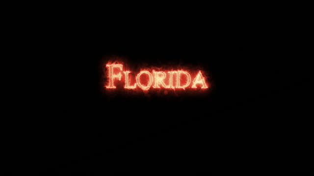 Florida written with fire. Loop Florida written with fire. Loop florida us state stock videos & royalty-free footage