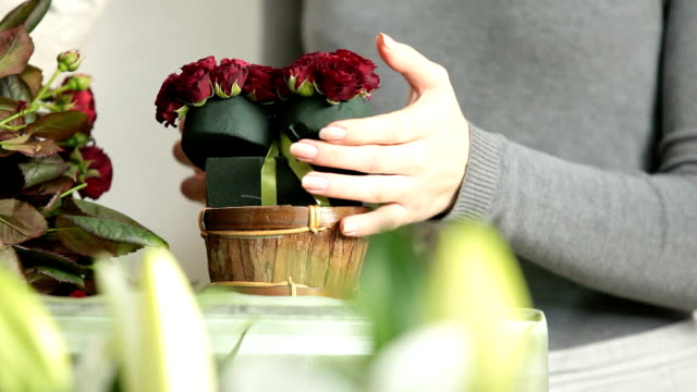 Florist Arranging Valentines Day Rose Heart Bouquet video