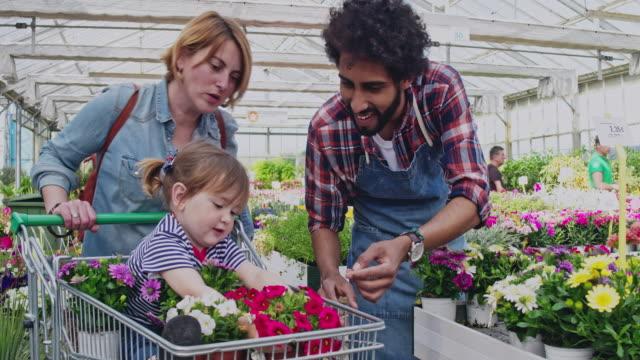vídeos y material grabado en eventos de stock de floreria pasando el pote de flor a la niña en el carro con su madre - madre e hijos