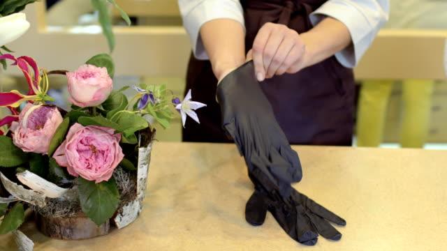 vídeos de stock e filmes b-roll de florist put protective gloves on hands - avental