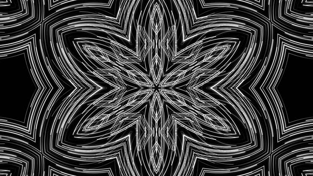 flow of lines form kaleidoscope pattern. 3d abstract bg with glow particles form blue red lines, lines form structure like kaleidoscopic effect. Motion design bg multicolor particles video