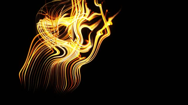 flow of particles forms curled yellow lines like glow light trails, lines form swirling pattern like curle noise. Abstract 3d animation as bright creative festive background. Fast lines of light video