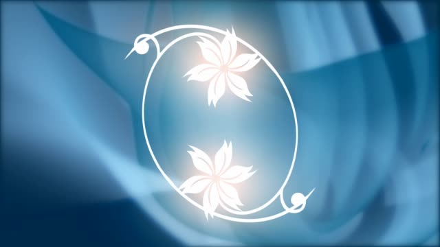 A flower being drawn on a blue background video