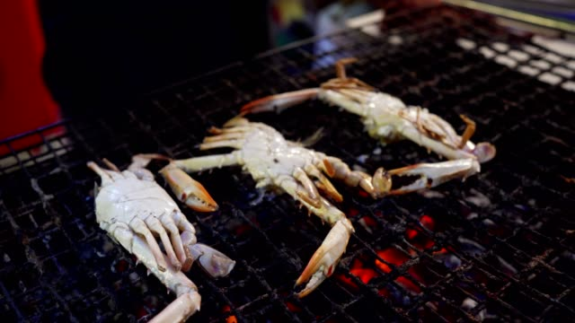 Flower crab on a grill