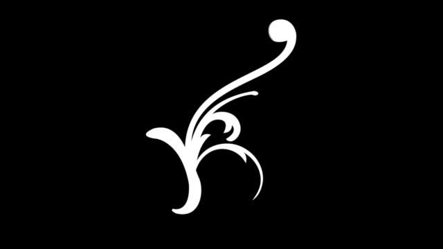 vídeos de stock, filmes e b-roll de vídeo de animação vetorial do flower design pattern com fundo transparente (canal alfa) - estampa floral