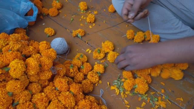 Flower market in India selling fresh flowers