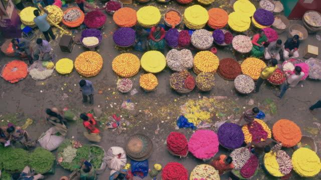 kr flower market sellers at basement timelapse clip, india - india video stock e b–roll
