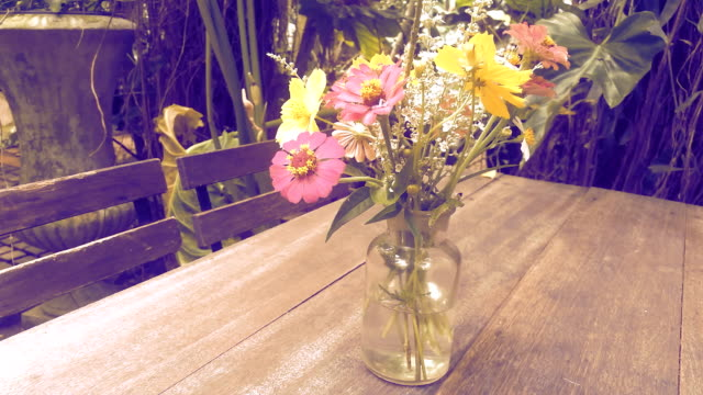 flower vases in the garden - bouquet video stock e b–roll