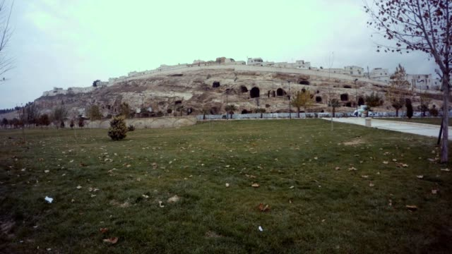Flower-bed with Green Grass and Fallen Yellow Leaves Far Old Urfa Cavern Houses on Reconstruction video