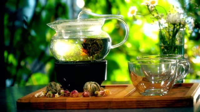 Flowering Tea in Teapot Outdoors - Timelapse