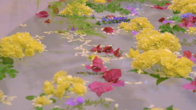 Flowers Float on the Surface of a Pink Bathtub