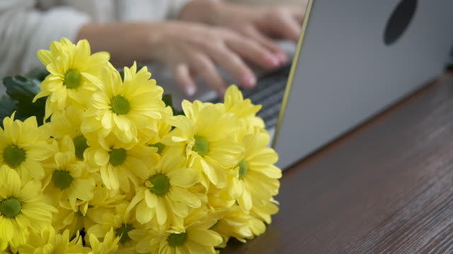 flowers in the workplace. - nazionalità russa video stock e b–roll