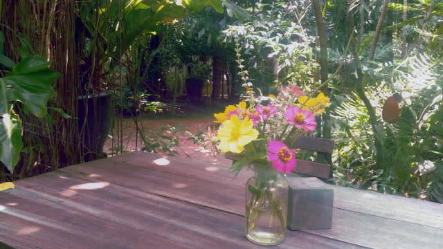 flowers in vase on table in the garden video