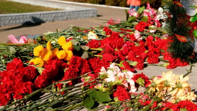 vídeos y material grabado en eventos de stock de flores colocan en un monumento para el día de la victoria de la guerra mundial. - memorial day