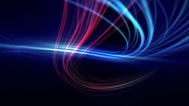 Flowing light trails, blue and red, loops from 14:00 onwards. video