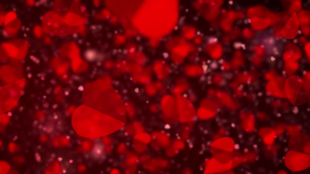 flowing red heart shapes, valentine's day particles - christmas movie video stock e b–roll