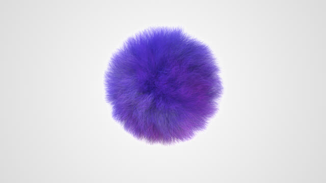 Fluffy purple sphere. Hairy ball. Abstract animation, 3d render.
