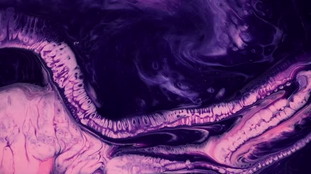 Fluid art drawing footage, modern acryl texture with colorful waves. Liquid paint mixing artwork with splash and swirl. Detailed background motion with purple, navy blue and pink overflowing colors.