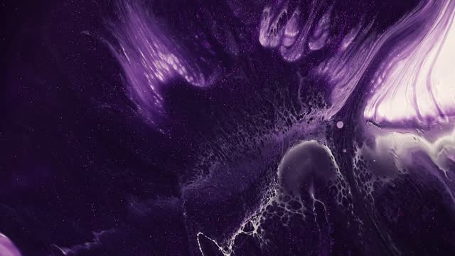 Fluid art drawing video, abstract acryl texture with colorful waves. Liquid paint mixing backdrop with splash and swirl. Detailed background motion with purple, lavender and white overflowing colors.