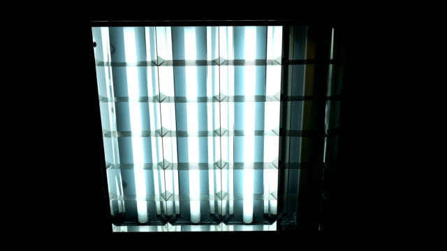 Fluorescent lights turning on and off Fluorescent lights turning on and off FullHD start button stock videos & royalty-free footage