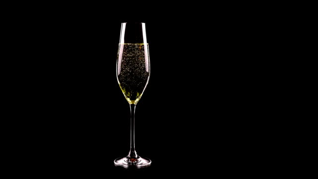 flute of champagne with golden bubbles against black background video