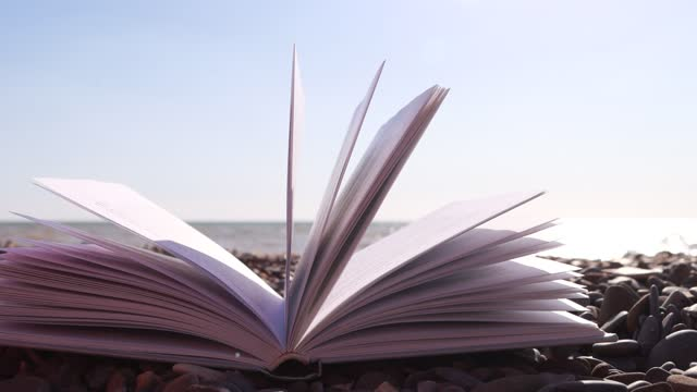 Fluttering pages of an open book with the sea waves on the background