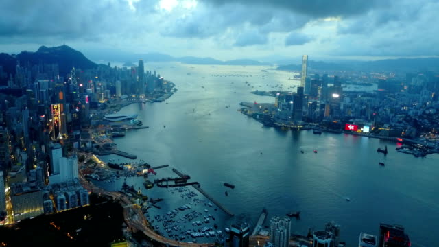 Fly above Hong Kong city 4k video video
