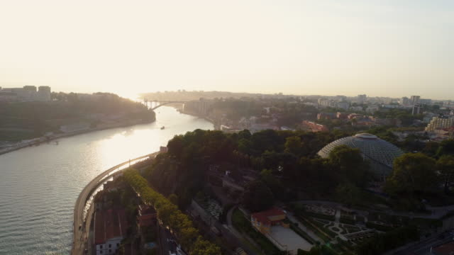 vídeos de stock e filmes b-roll de fly above park and river in porto - douro