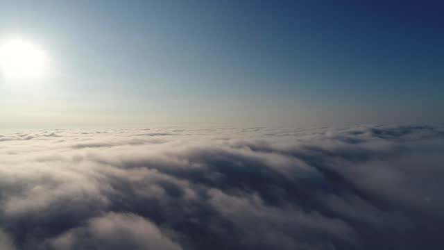 Fly above the clouds during the sunset, Sky, Cluds,Drone, Epic