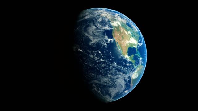 vídeos de stock, filmes e b-roll de voe ao redor da terra no espaço 3d sem emenda animated com a noite e o dia - país área geográfica