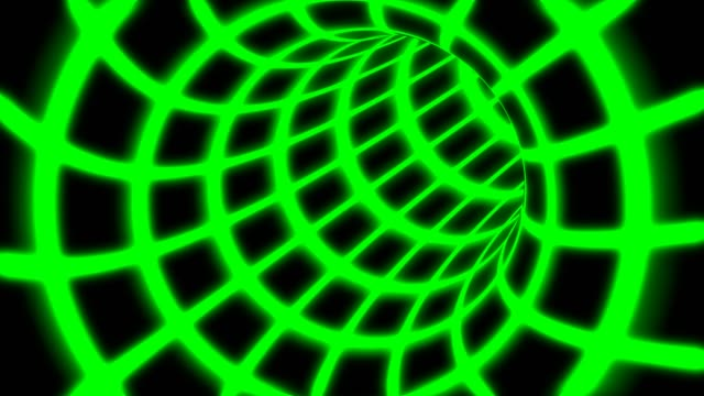 Fly Inside Green Digital Tunnel Grid in Connected Secure Computer Network - 4K Seamless Loop Motion Background Animation