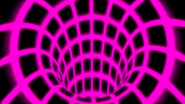 Fly Inside Pink Digital Tunnel Grid in Connected Secure Computer Network - 4K Seamless Loop Motion Background Animation