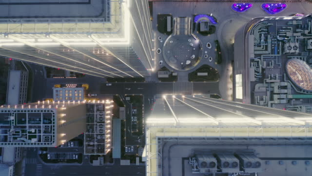 Fly over buildings video
