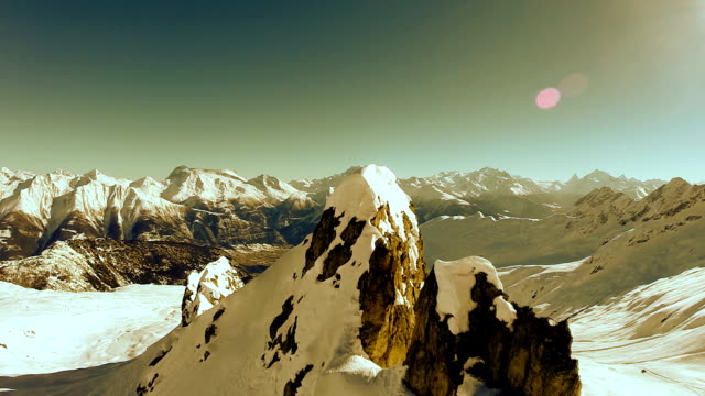 fly over mountain peak. aerial view of mountain panorama video