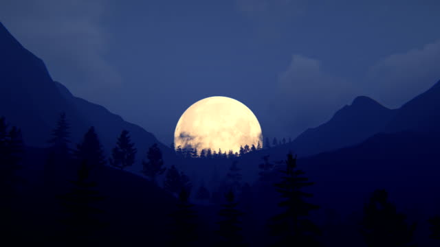 Fly over mountain ridge with full moon Fly over mountain ridge with trees. Full moon over mountains. mountains in mist stock videos & royalty-free footage