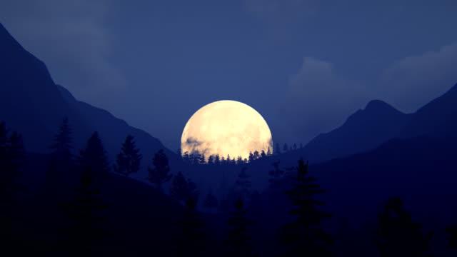 flyga över bergsryggen med fullmåne - bergsrygg bildbanksvideor och videomaterial från bakom kulisserna
