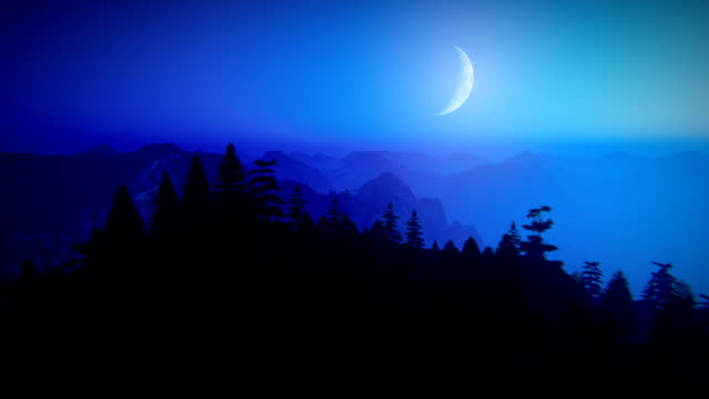 Fly over mountains at night Camera flying over mountain peak with swaying trees. Clear blue sky with crescent moon and stars. Aerial view at night. country geographic area stock videos & royalty-free footage