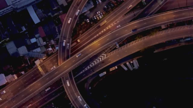 Fly over Multiple lane highway in urban area of Bangkok, capital city of Thailand, 4k video