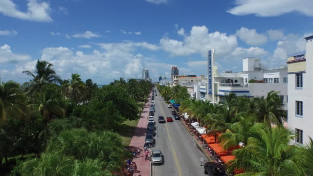 Fly Over Ocean Drive (Low SOUTH View) - South Beach - Aerial 4K video