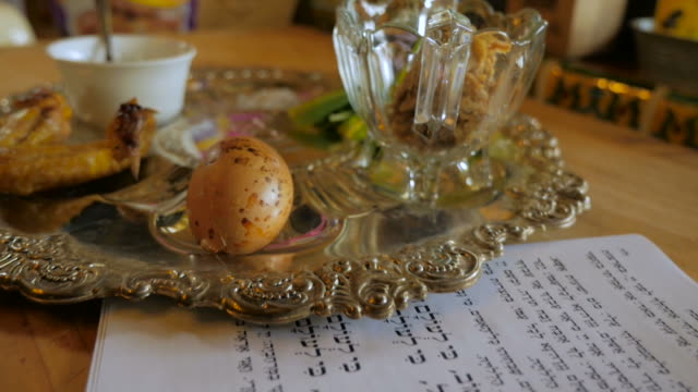 Fly over of a typical passover seder plate and Haggadah video