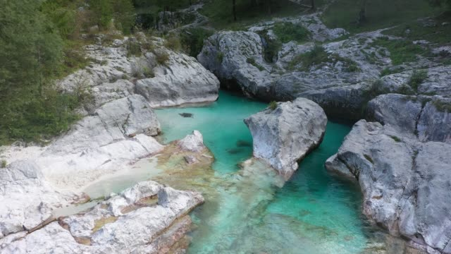 Fly Over The Surface Of A Mountain River Soca, Slovenia
