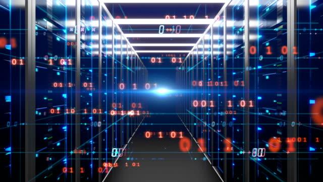 fly through futuristic Corridor of  server room with digital element .4k
