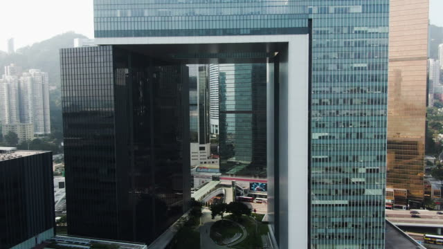 fly through hong kong headquarter of government - hong kong video stock e b–roll