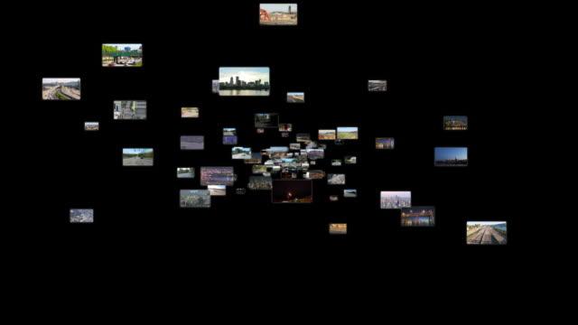 stockvideo's en b-roll-footage met fly through media space 2 (black) straight - filmmontage