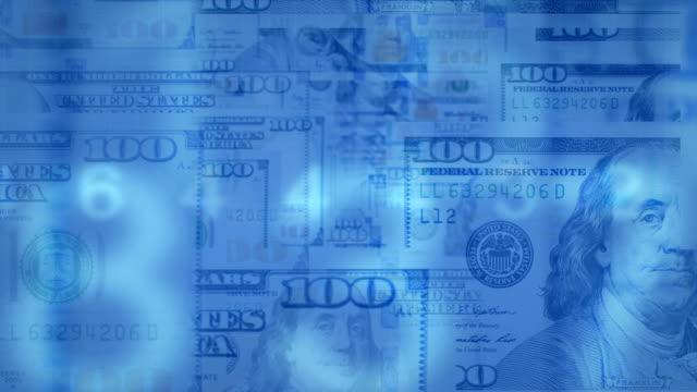 fly через loopable анимации подсчета денег - dollar bill стоковые видео и кадры b-roll