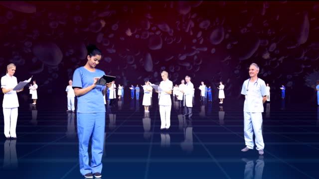 vídeos de stock e filmes b-roll de mosca 3d de montagem através de profissionais médicos - fundo oficina
