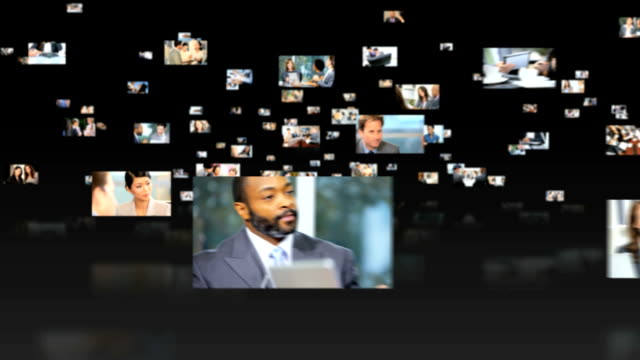 3D fly through montage Multi ethnic business people video