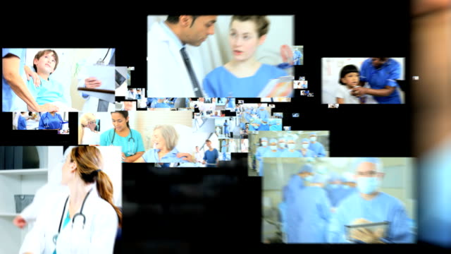 Fly through of images multi-ethnic medical team video