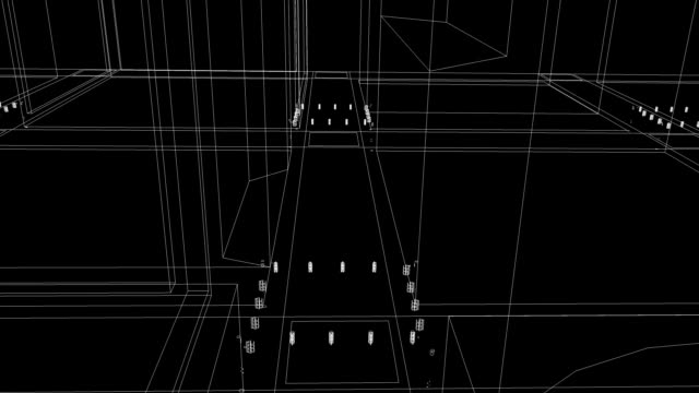 Fly through schematic architectural blueprints rotating loop background video