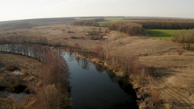 vídeos de stock, filmes e b-roll de voando um quadcopter ao longo de um rio de primavera cercado por vegetação amarela seca, vídeo aéreo - multicóptero